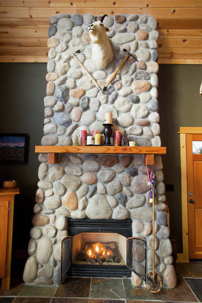 Comfort Photograph - A Fireplace In A Mountain Cabin by Ty Milford