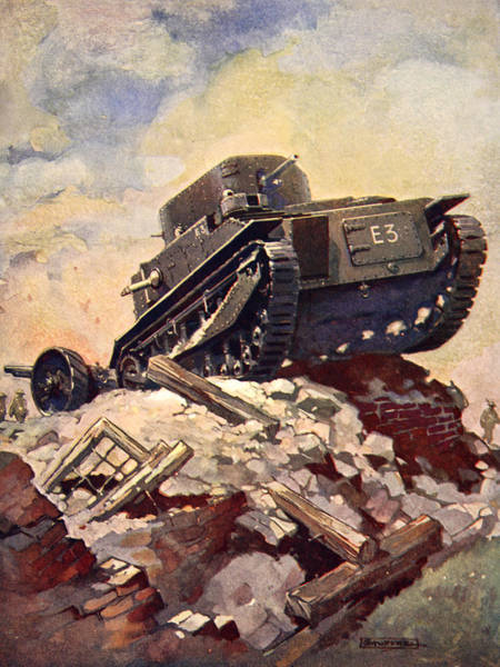 Soldier Drawing - A First World War Tank by J. Allen Shuffrey