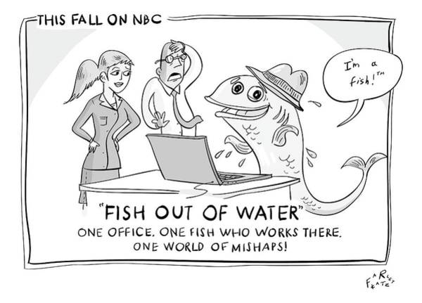 Work Out Drawing - A Fish Tries To Use A Computer While Two by Farley Katz