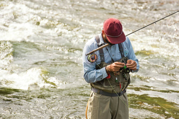 Steamboat Springs Photograph - A Fisherman Fixes His Line While by Rob Hammer