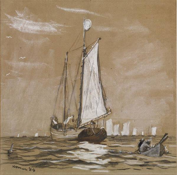 Wall Art - Painting - A Fishing Schooner by