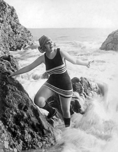 Photograph - A Flapper In Her Bathing Suit by Underwood Archives
