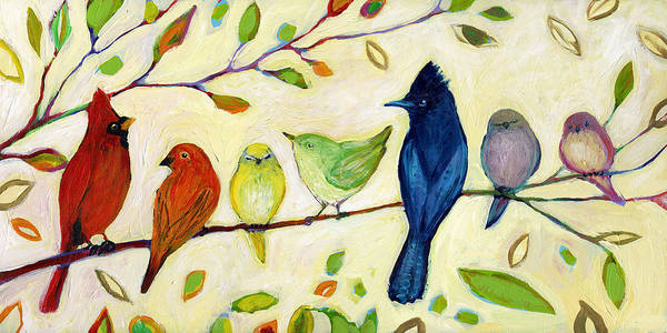 Songbird Wall Art - Painting - A Flock Of Many Colors by Jennifer Lommers