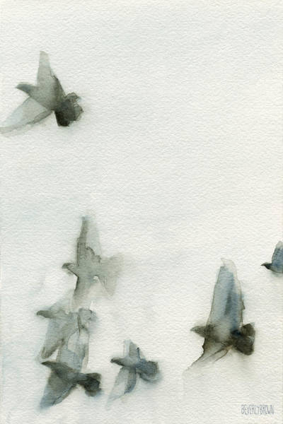 Semi Abstract Painting - A Flock Of Pigeons 1 Watercolor Painting Of Birds by Beverly Brown
