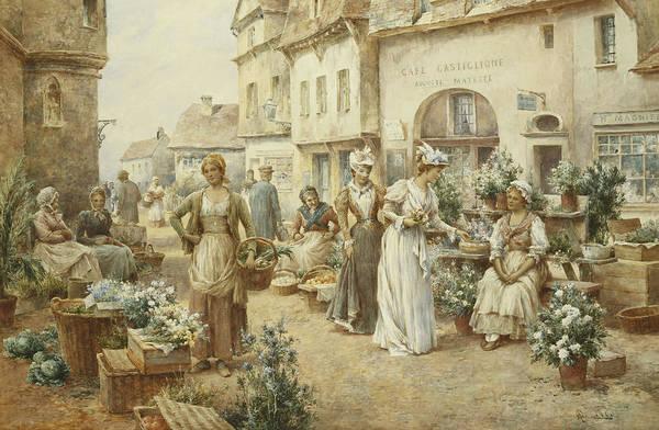 Flower Market Painting - A Flower Market by Alfred Glendening Junior