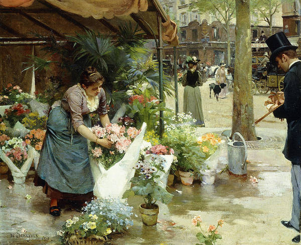 Trader Painting - A Flower Market In Paris by Louis de Schryver