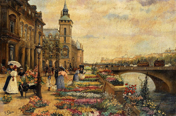 Flower Shop Painting - A Flower Market On The Seine by Ulpiano Checa y Sanz