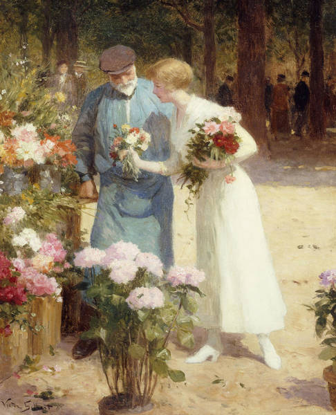 Flower Shop Painting - A Flower Market by Victor Gabriel Gilbert