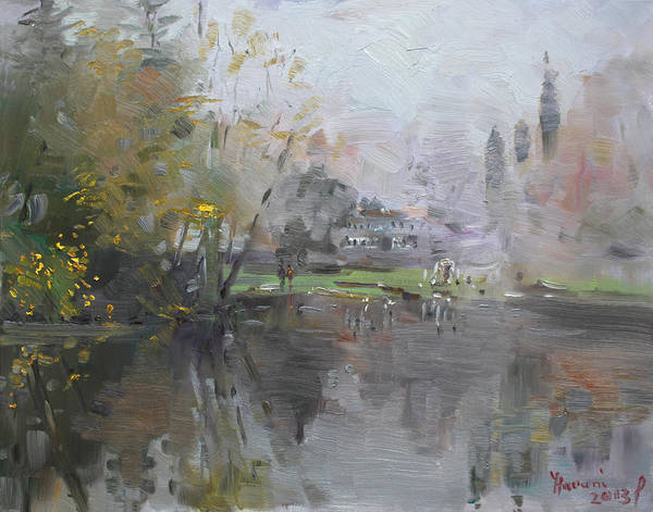 Foggy Wall Art - Painting - A Foggy Fall Day By The Pond  by Ylli Haruni