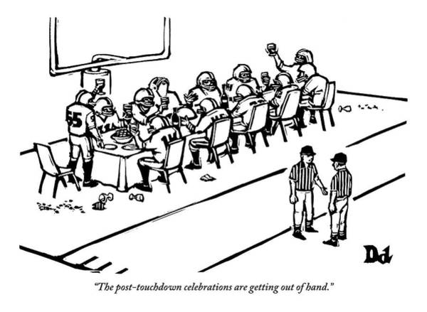 Football Drawing - A Football Team Enjoys A Seated Dinner With Wine by Drew Dernavich