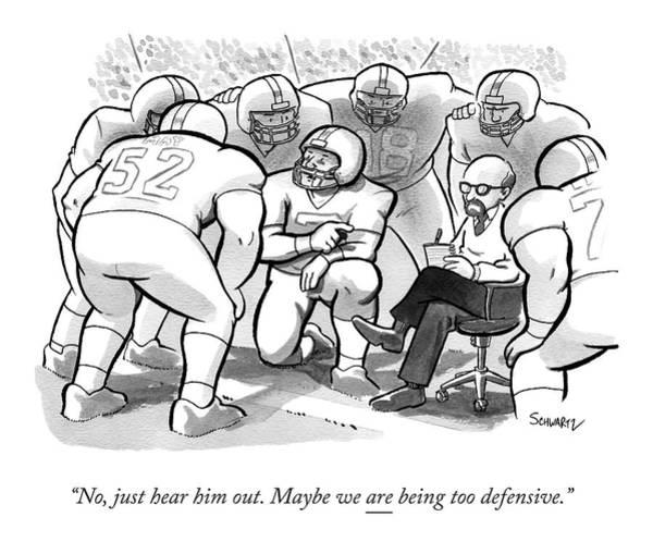 Team Drawing - A Football Team Huddles Around A Therapist by Benjamin Schwartz