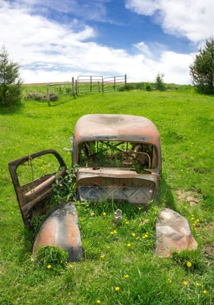 Junkyard Photograph - A Ford In A Field by Jim Hughes