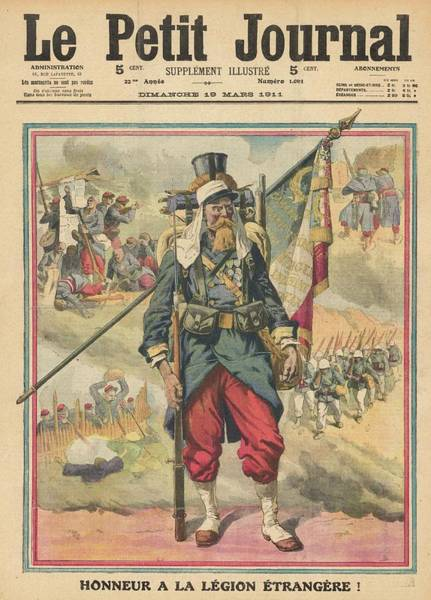 Wall Art - Drawing - A Foreign Legionnaire,  Carrying by Mary Evans Picture Library