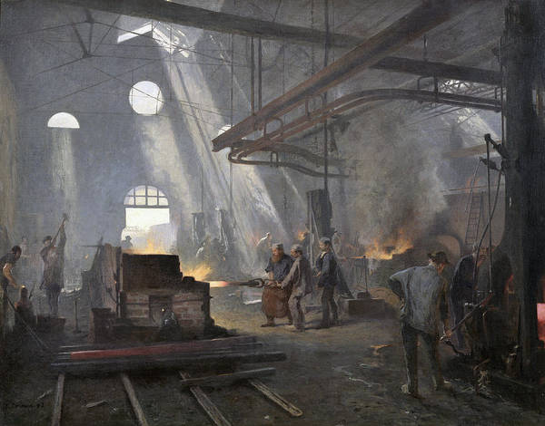 Man Of Steel Wall Art - Painting - A Forge, 1893  by Fernand Cormon