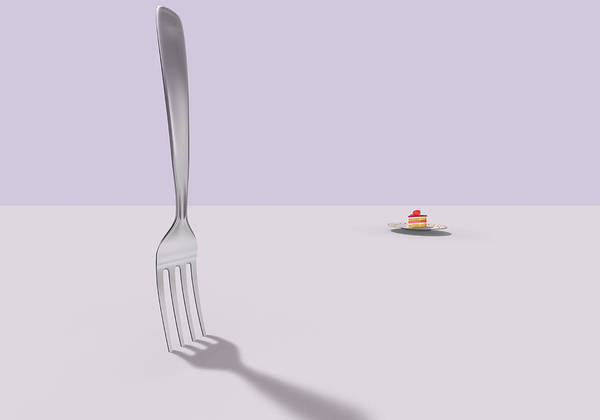 Fork Digital Art - A Fork And A Cake by Yagi Studio