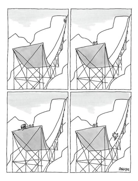Skiing Drawing - A Four-paneled Cartoon Shows A Skier On A Huge by Jack Ziegler
