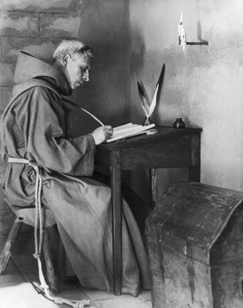 Franciscan Photograph - A Franciscan Padre Writing by Underwood Archives Onia