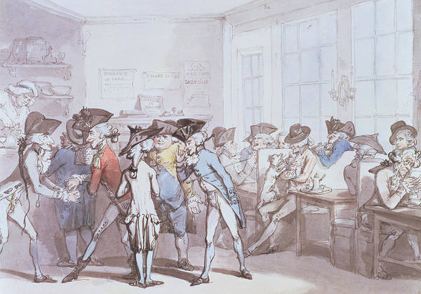 Gentleman Drawing - A French Coffee House by Thomas Rowlandson