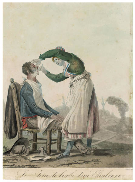 Wall Art - Drawing - A (french) Lady Barber Wet Shaves by Mary Evans Picture Library