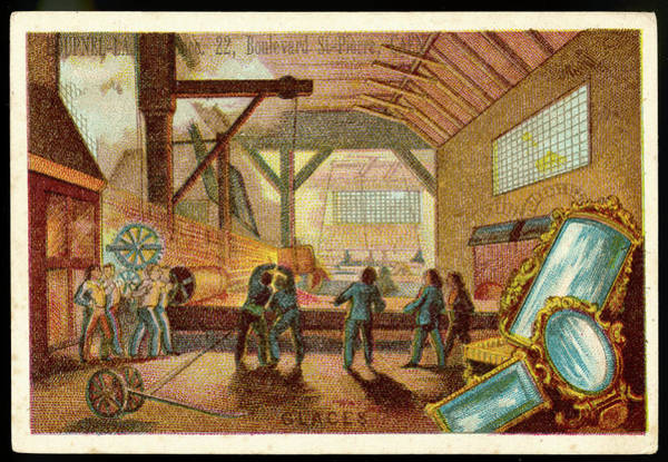 Wall Art - Drawing - A French Mirror Factory          Date by Mary Evans Picture Library