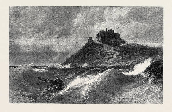 Stormy Drawing - A Fresh Gale Mount Orgueil Jersey by English School