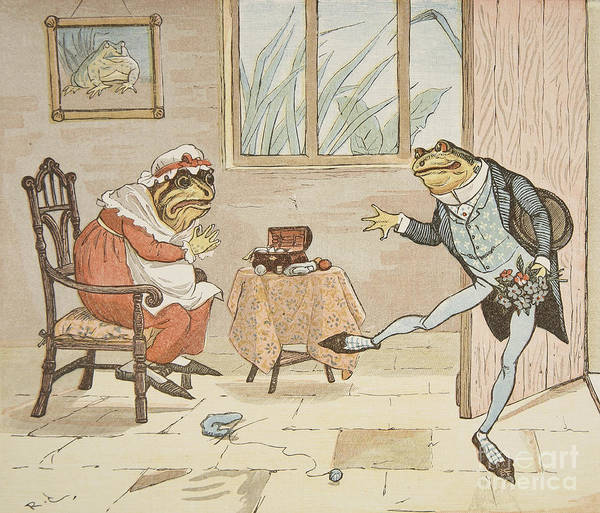 Window Frame Painting - A Frog He Would A Wooing Go by Randolph Caldecott