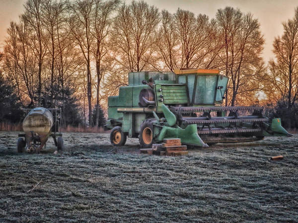 Wall Art - Photograph - A Frosty John Deere Turbo 7700 Combine by Thomas Woolworth