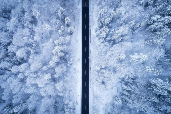 Aerials Photograph - A Frosty Road by Daniel Fleischhacker
