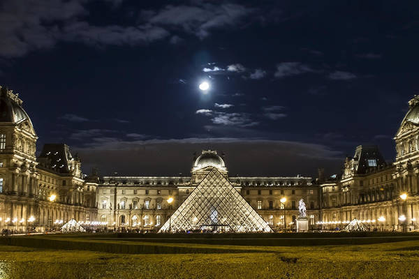 Photograph - A Full Moon Rising Over The Louvre by Sven Brogren