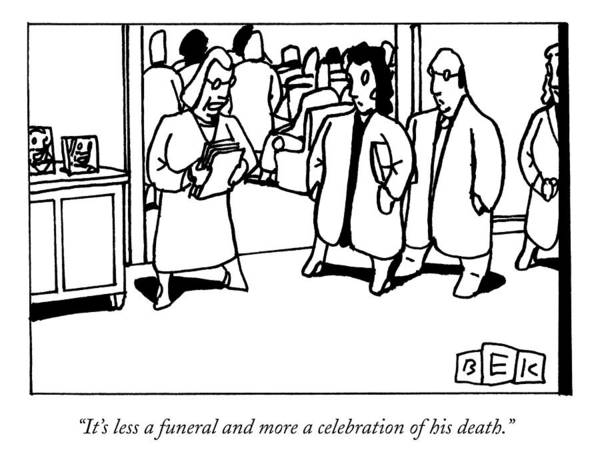 Death Drawing - A Funeral Mourner Speaks To A Couple by Bruce Eric Kaplan