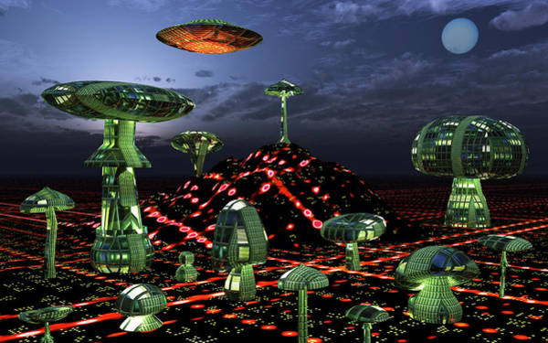 Ufology Photograph - A Futuristic Alien City Seen At Night by Mark Stevenson