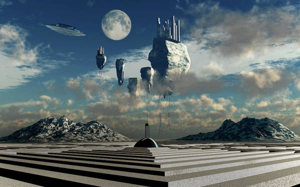 Ufology Photograph - A Futuristic View Of A Floating City by Mark Stevenson