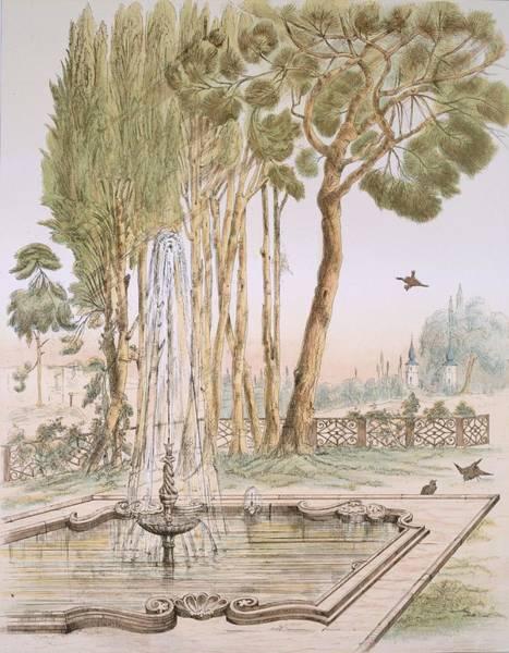 Wetland Drawing - A Garden In Turkey, 19th Century by A. de Beaumont
