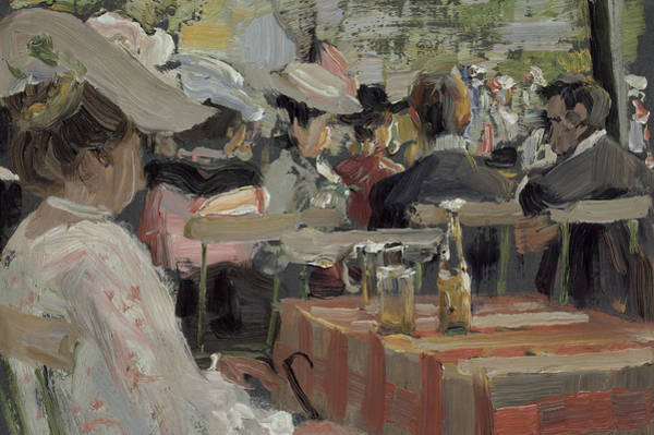 Turn Of The Century Painting - A Garden Restaurant by August Heitmuller