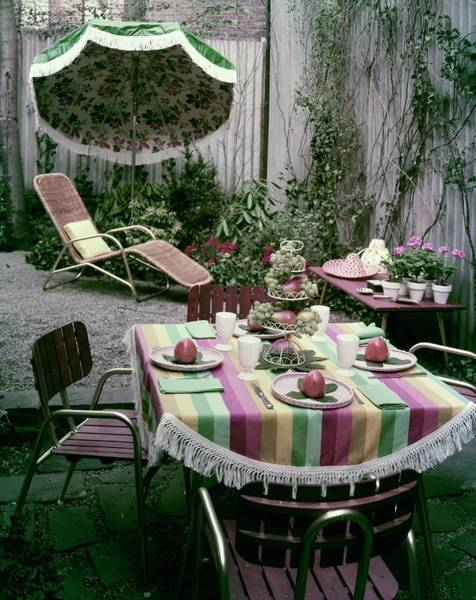 Home Plate Photograph - A Garden Set Up For Lunch by Tom Leonard