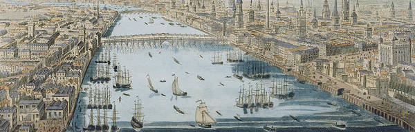 City Scene Painting - A General View Of The City Of London And The River Thames by Thomas Bowles