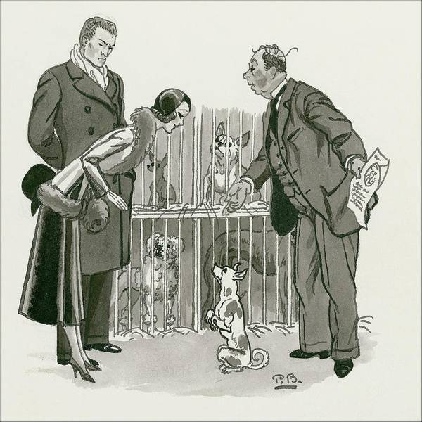 Gesture Digital Art - A Gentleman Selling Dogs by Pierre Brissaud