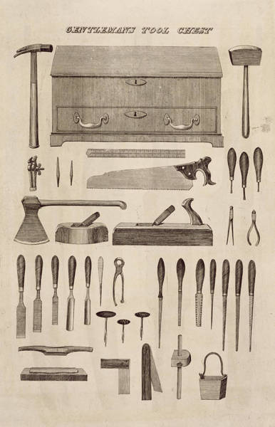 Gentleman Drawing - A Gentlemans Tool Chest by English School