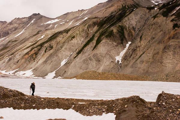 Wall Art - Photograph - A Geologist Hikes Down A Moraine by Dan Shugar