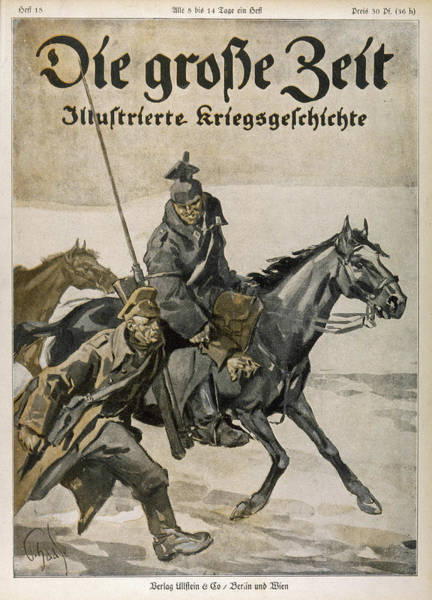 Wall Art - Drawing - A German Cavalryman Assists A  Foot by Mary Evans Picture Library