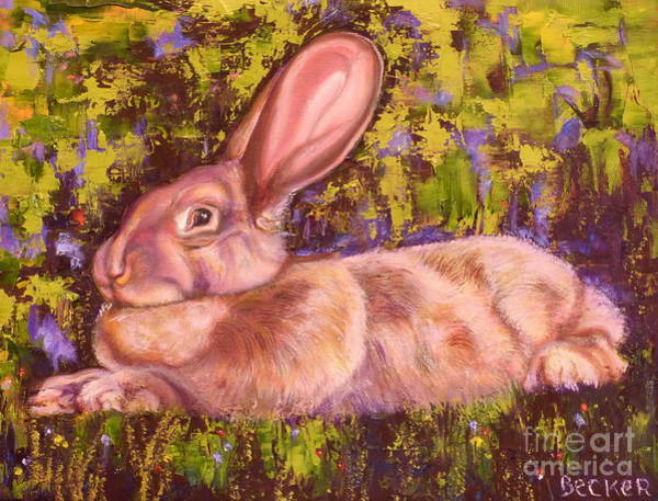 Painting - A Giant Continental Rabbit by Susan A Becker