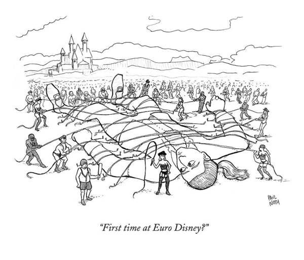 Dominatrix Drawing - A Giant Man Is Tied Down By Many Men And Women by Paul Noth
