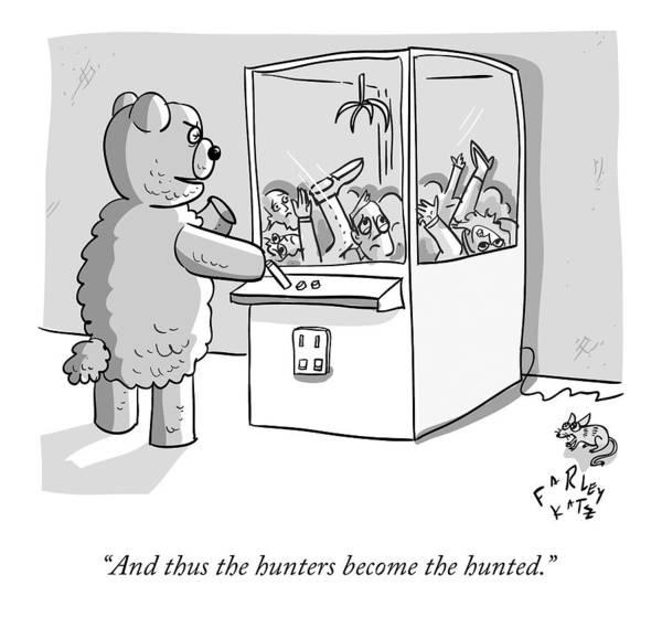 January 18th Drawing - A Giant Stuffed Bear Plays The Mechanical Arm by Farley Katz