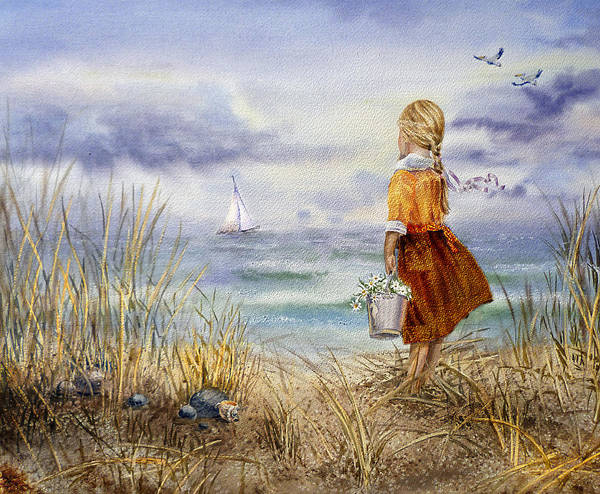 Blue And White Wall Art - Painting - A Girl And The Ocean by Irina Sztukowski