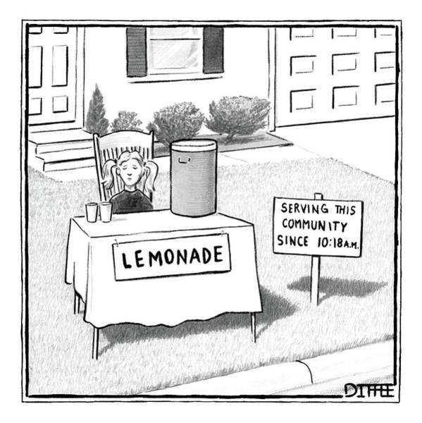 Lemonade Wall Art - Drawing - A Girl Is Seen Sitting At A Lemonade Stand Next by Matthew Diffee