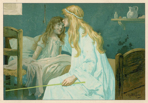 Folklore Drawing - A Girl Is Visited By A Friendly  Fairy by Mary Evans Picture Library