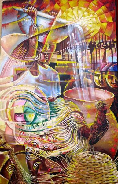 Water Foul Painting - A Girl Puring Water  by Odei Nyamekye
