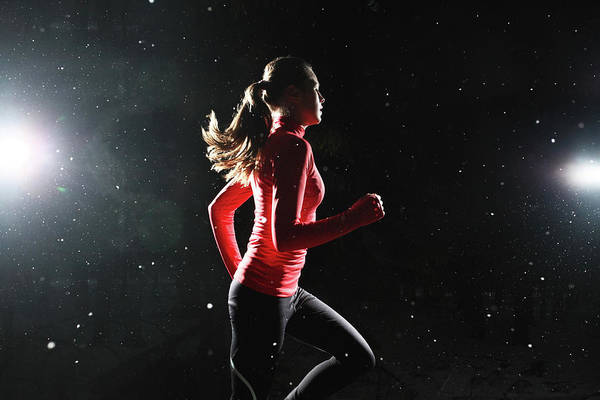 Adolescence Photograph - A Girl Running At Night Surrounded By by Stanislaw Pytel
