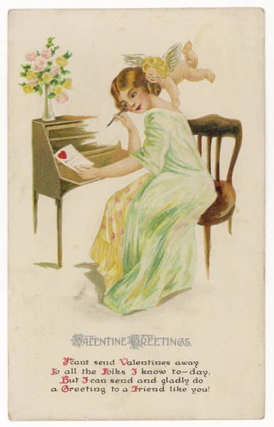 Wall Art - Drawing - A Girl Sits At Her Desk  Composing by Mary Evans Picture Library
