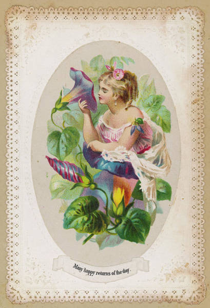 Wall Art - Drawing - A Girl With A Big Flower          Date by Mary Evans Picture Library